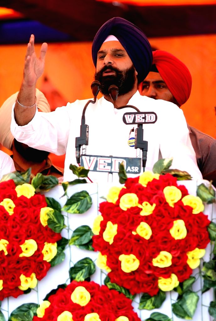 Punjab Minister Bikram Singh Majithia addresses during an election campaign in Amritsar, on Oct 31, 2016. - Bikram Singh Majithia