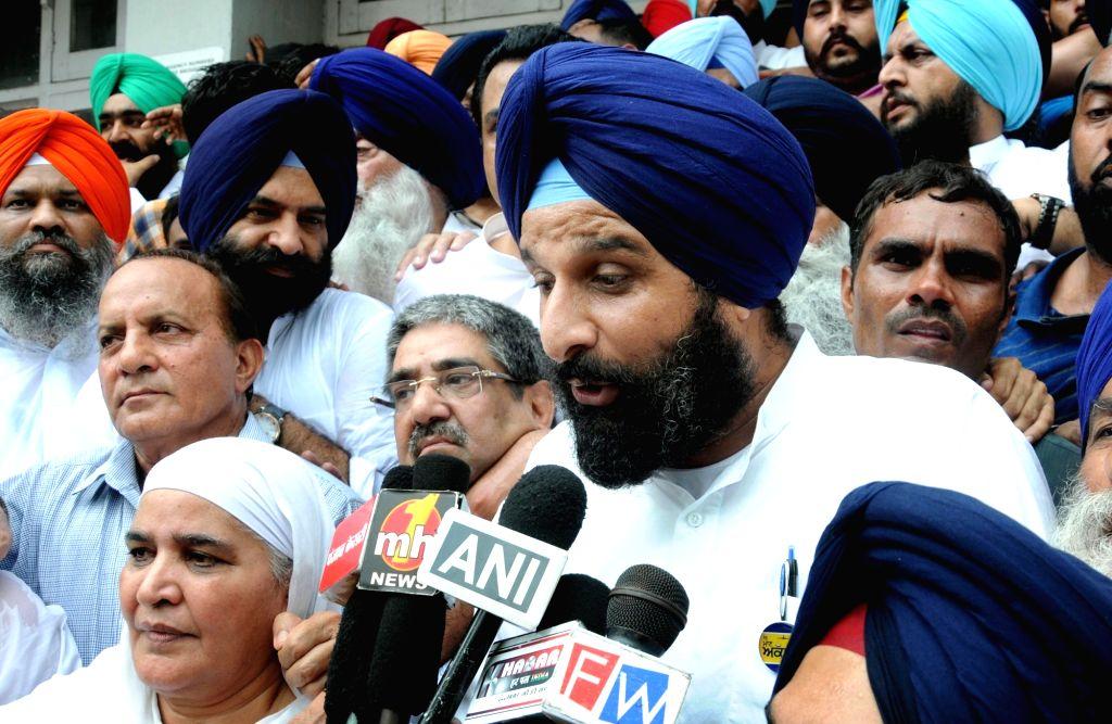 Punjab minister Bikram Singh Majithia comes out of an Amritsar court on July 29, 2016. - Bikram Singh Majithia