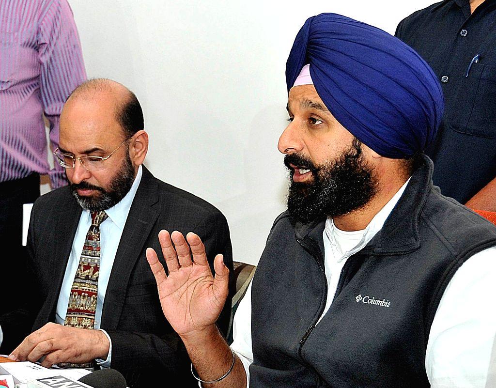 Punjab Minister Bikram Singh Majithia during a press conference in Chandigarh, on Nov 24, 2015.