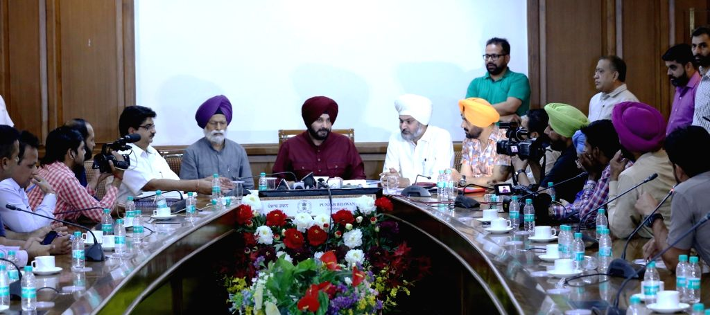 Punjab Minister Navjot Singh Sidhu during a meeting in Chandigarh on May 29, 2017. - Navjot Singh Sidhu
