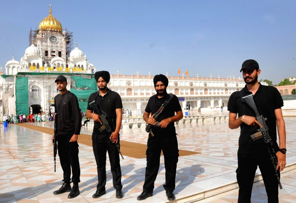 Punjab police commandos stand guard outside the Golden Temple on the eve of the 35th anniversary of Operation Blue Star, in Amritsar, on June 5, 2019.