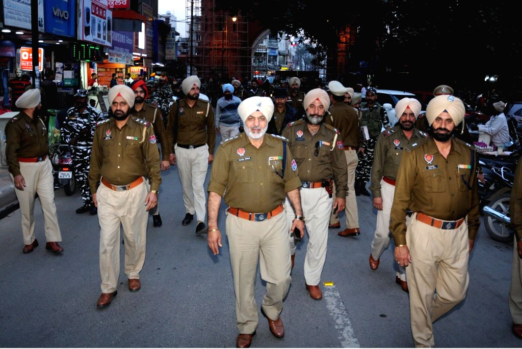 Punjab police conducts flag march ahead of 2019 Lok Sabha elections, in Amritsar on March 16, 2019.