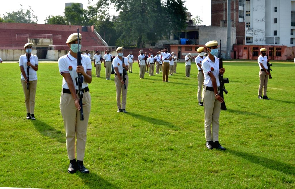 Punjab Police personnel during full dress rehearsals ahead of Independence Day Parade 2020, in Amritsar on Aug 13, 2020.