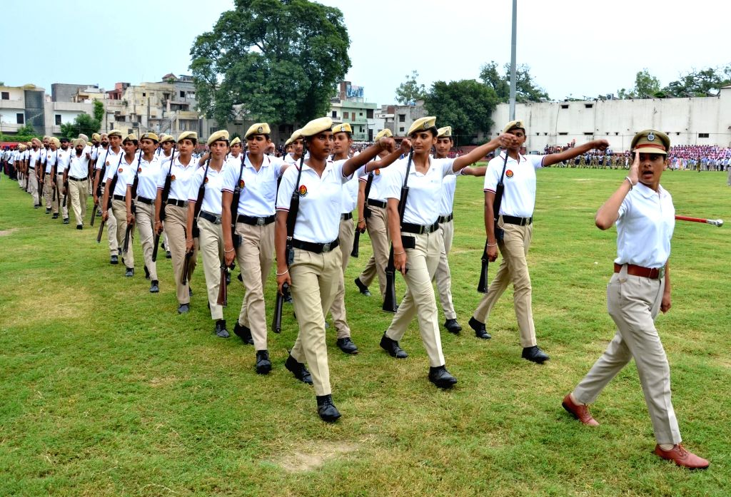 Punjab Police personnel during Independence Day parade rehearsals, in Amritsar on Aug 9, 2019.