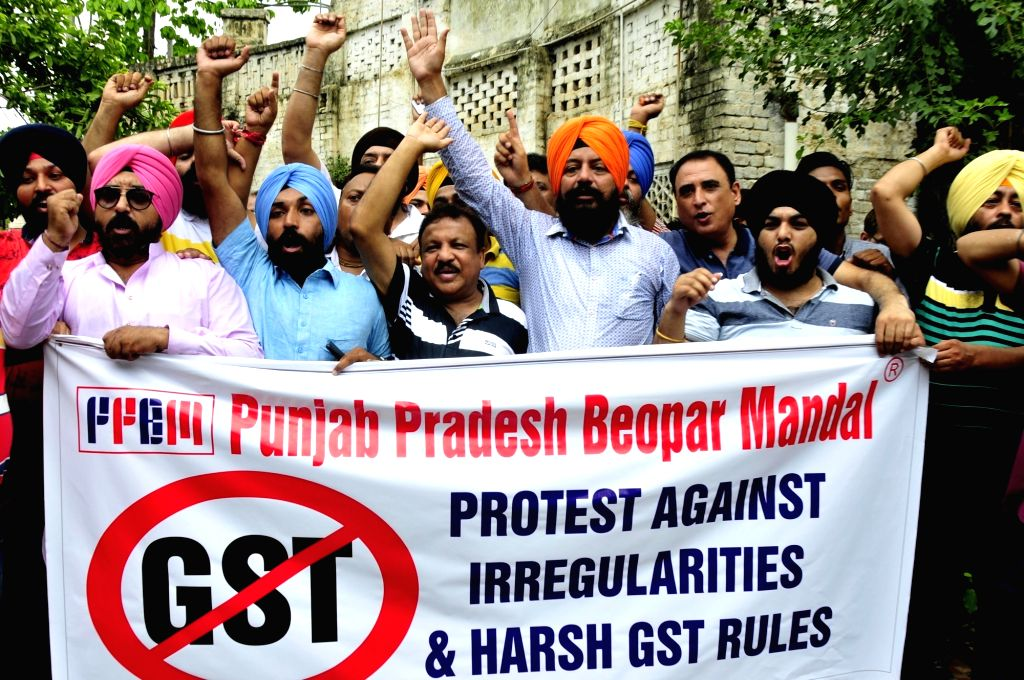 Punjab Pradesh Beopar Mandal stage a demonstration against GST in Amritsar on June 30, 2017.