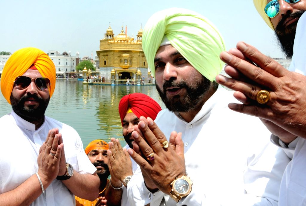 Punjab Tourism Minister Navjot Singh Sidhu during his visit to the Golden Temple, in Amritsar on May 22, 2018. - Navjot Singh Sidhu