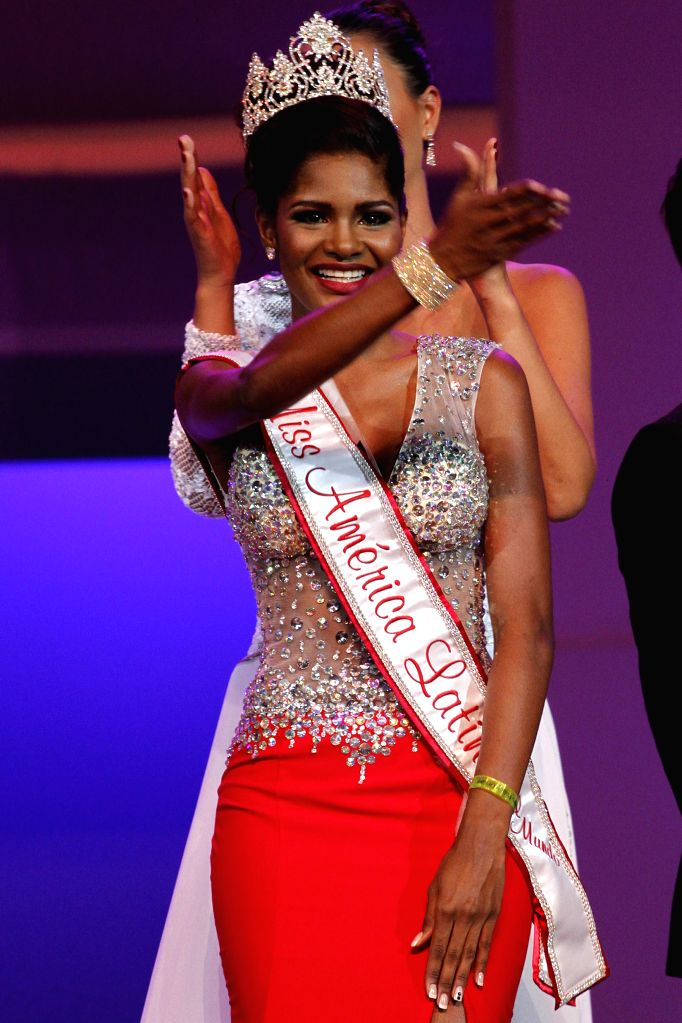 Winner of World's Miss Latin America 2014 contest, Nicole Pinto of Panama, reacts after the contest in Punta Cana City, Dominican Republic, on Sept. 6, 2014. ...