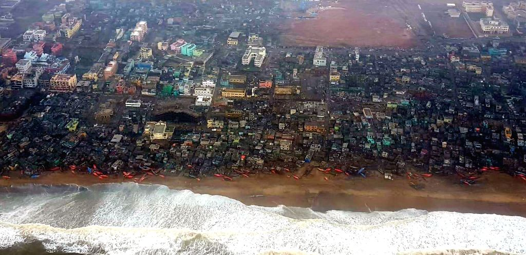 Puri (Odisha): An aerial view of the cyclone affected Puri after cyclone Fani made a landfall in Odisha on Friday and wreaked havoc; on May 4, 2019. In the aftermath of the devastation caused by ...