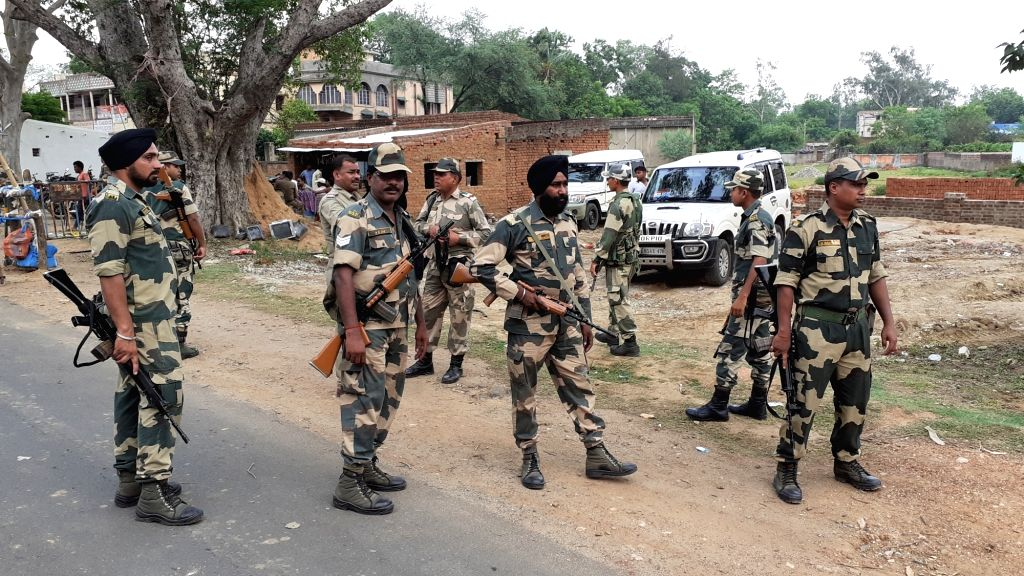 Purulia: BSF personnel deployed in Purulia of West Bengal during counting for 2019 Lok Sabha polls on May 23, 2019. (Photo: IANS)