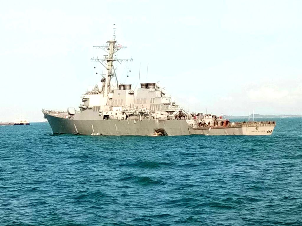 PUTRAJAYA, Aug. 21, 2017 (Xinhua) -- Photo provided by Malaysian Maritime Enforcement Agency on Aug. 21, 2017 shows the damaged U.S. navy destroyer John S. McCain. Malaysian authorities said Monday assets had been deployed to join the search and resc