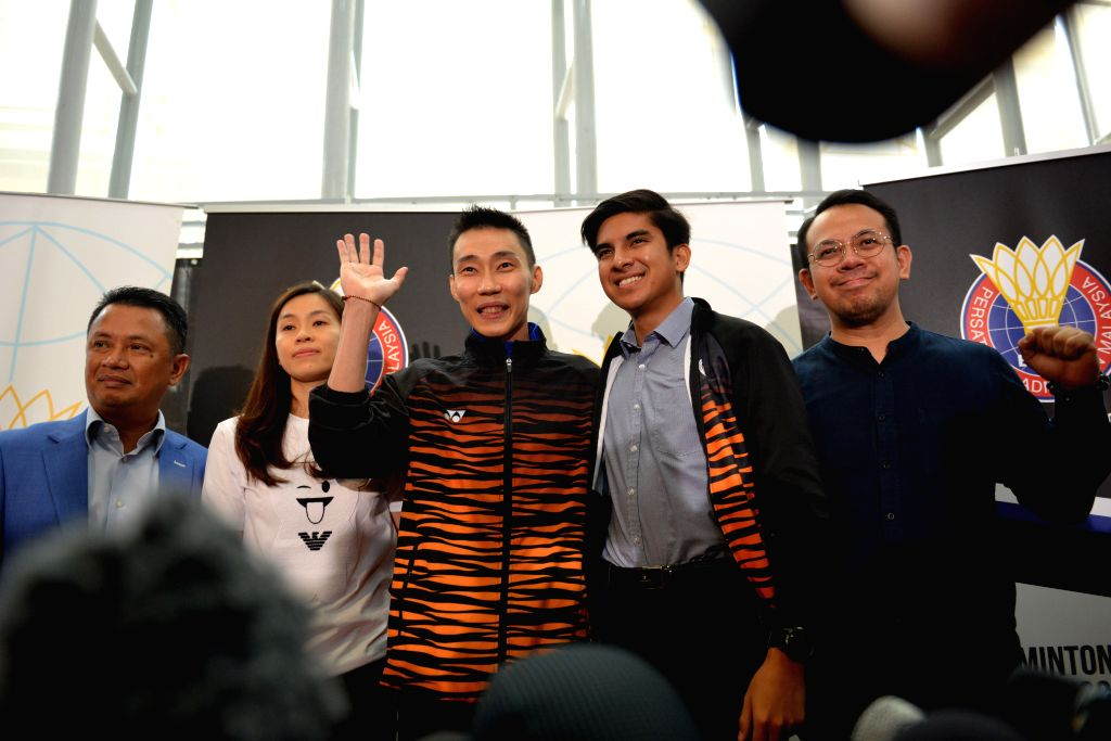 PUTRAJAYA, June 13, 2019 - Malaysia's badminton player Lee Chong Wei (C) attends a news conference to announce his retirement in Putrajaya, Malaysia, June 13, 2019.