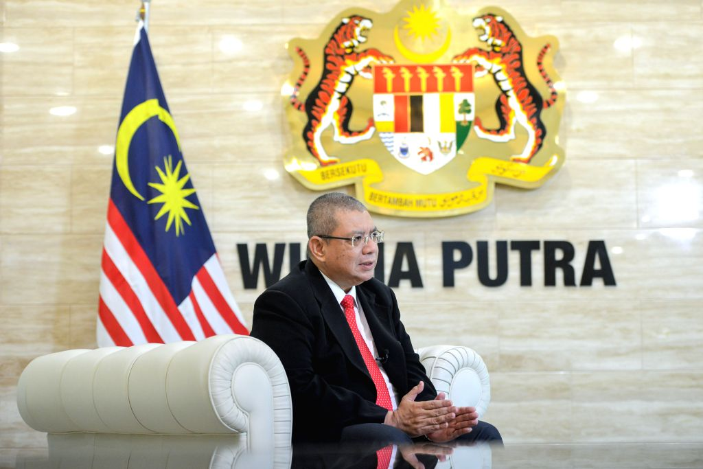PUTRAJAYA, June 15, 2019 - Malaysian Foreign Minister Saifuddin Abdullah speaks during an interview with Xinhua in Putrajaya, Malaysia, on June 13, 2019. China's pro-engagement approach in the Belt ... - Saifuddin Abdullah