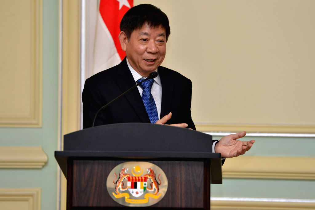 PUTRAJAYA, Sept. 5, 2018 - Khaw Boon Wan, Singaporean coordinating minister for infrastructure and minister for transport, speaks during a joint press conference in Putrajaya, Malaysia, Sept. 5, ...
