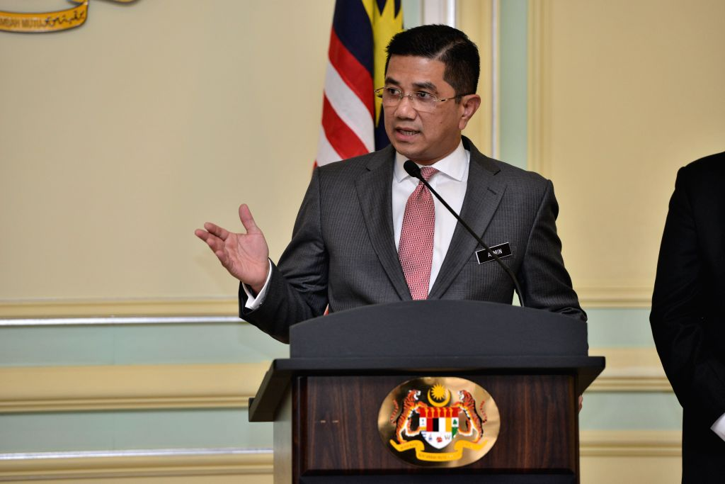 PUTRAJAYA, Sept. 5, 2018 - Malaysia's Economic Affairs Minister Mohamed Azmin Ali speaks during a joint press conference in Putrajaya, Malaysia, Sept. 5, 2018. The government of Malaysia and ... - Mohamed Azmin Ali