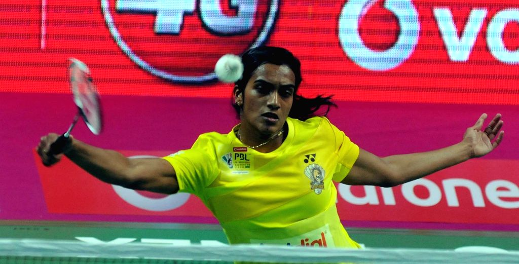 PV Sindhu of Chennai Smashers in action against Saina Nehwal of Awadhe Warriors during a Premier Badminton League 2017 match in New Delhi on Jan 11, 2017.