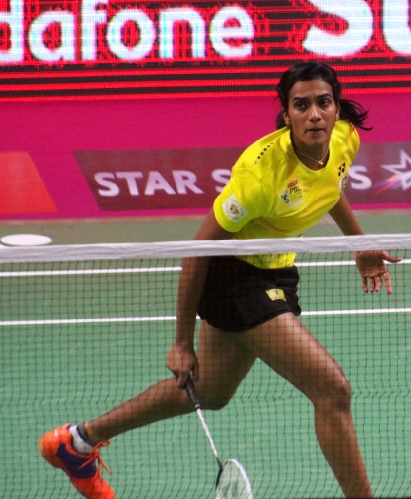 PV Sindhu of Chennai Smashers in action against Saina Nehwal of Awadhe Warriors during a Premier Badminton League 2017 match in New Delhi on Jan 13,  2017.