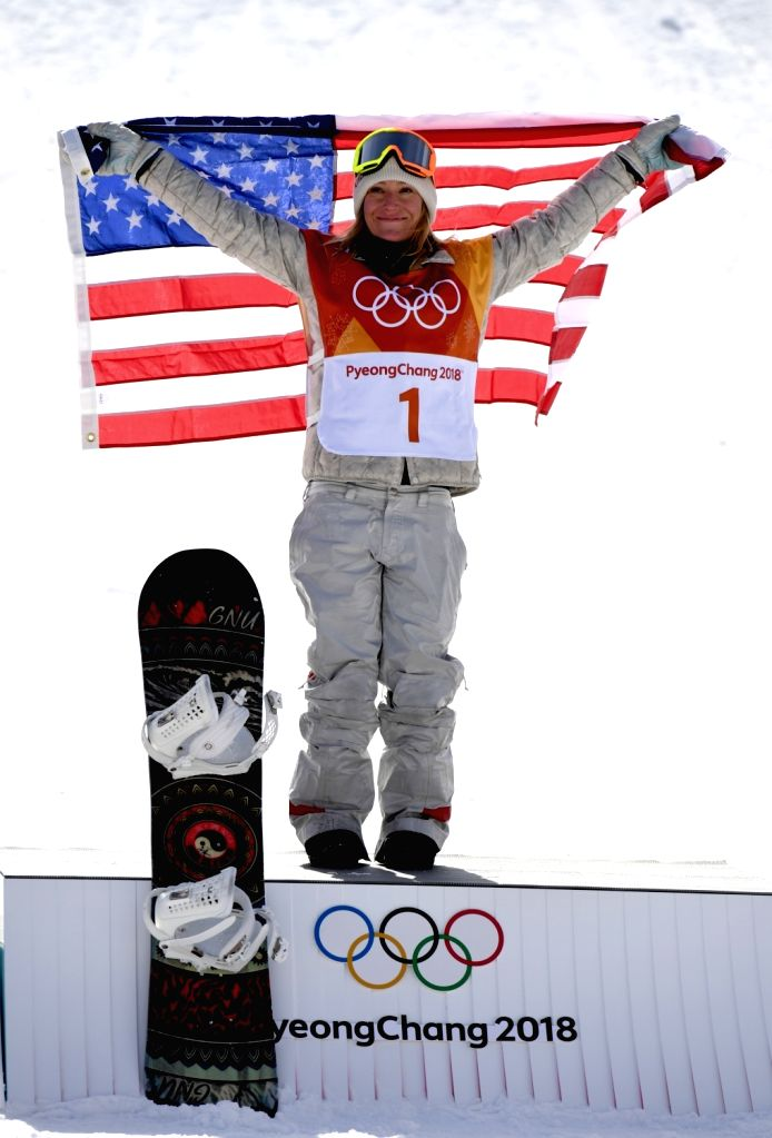 PYEONGCHANG, Feb. 12, 2018 - Jamie Anderson of the United States celebrates after winning the ladies' snowboard slopestyle final at the 2018 PyeongChang Winter Olympic Games at the Phoenix Snow Park ...