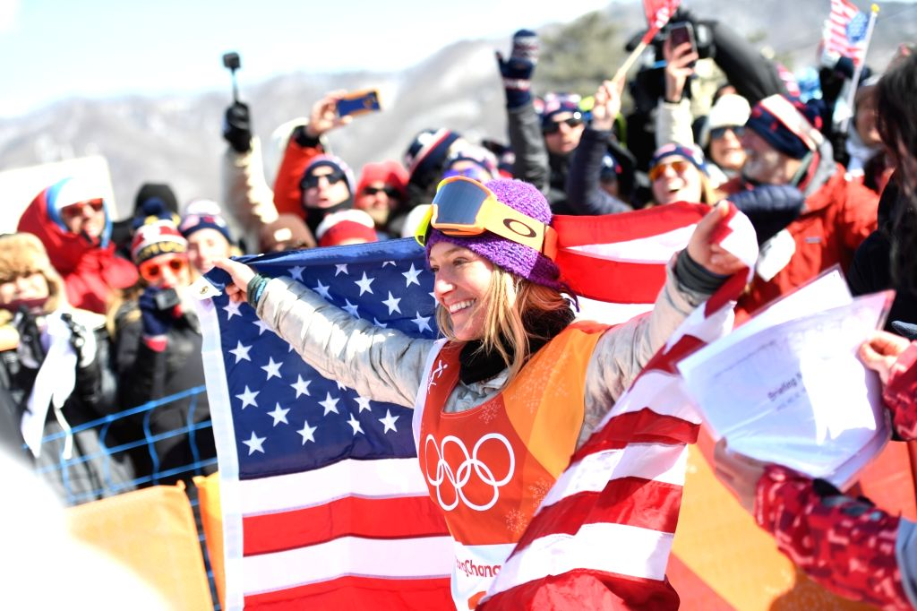 PYEONGCHANG, Feb. 12, 2018 - Jamie Anderson of the U.S. celebrates after winning the ladies' snowboard slopestyle at the 2018 PyeongChang Winter Olympic Games at the Phoenix Snow Park in PyeongChang, ...