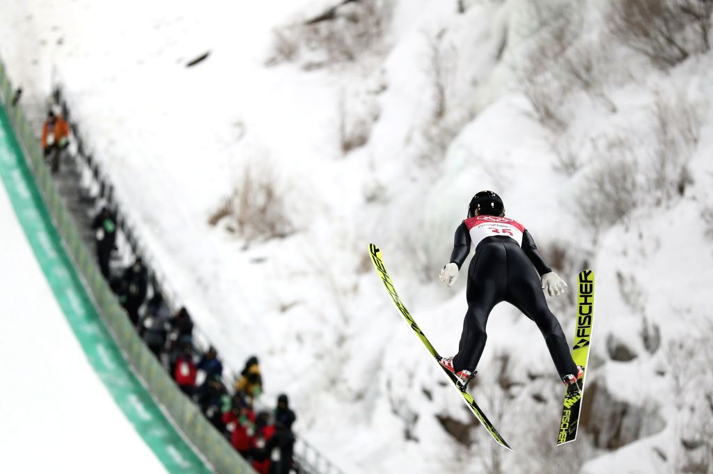 PYEONGCHANG, Feb. 12, 2018 - Maren Lundby from Norway competes during the ladies' normal hill individual event of ski jumping at 2018 PyeongChang Winter Olympic Games at Alpensia Ski Jumping Centre, ...