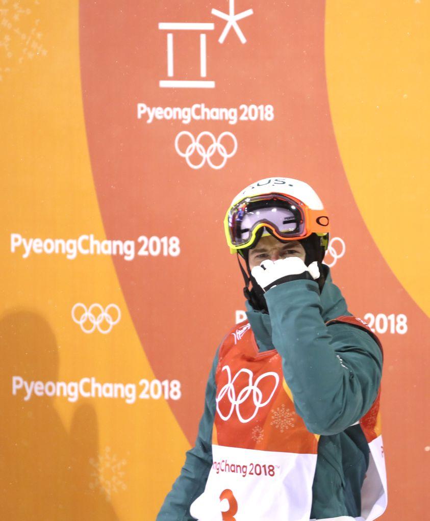 PYEONGCHANG, Feb. 12, 2018 - Matt Graham from Australia reacts after men's moguls event of freestyle skiing at 2018 PyeongChang Winter Olympic Games at phoenix snow park, PyeongChang, South Korea, ...