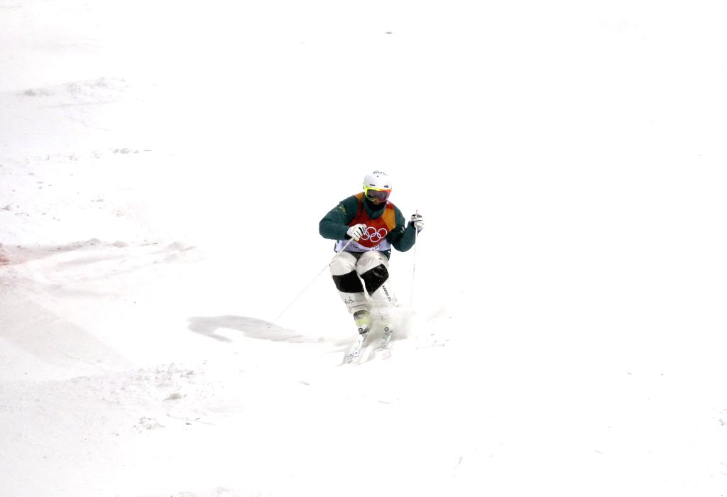 PYEONGCHANG, Feb. 12, 2018 - Matt Graham from Australia competes during men's moguls event of freestyle skiing at 2018 PyeongChang Winter Olympic Games at Phoenix Snow Park, PyeongChang, South Korea, ...