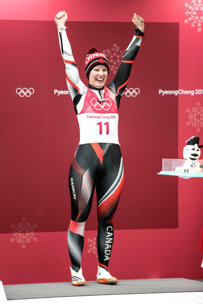 PYEONGCHANG, Feb. 13, 2018 - Alex Gough from Canada celebrates during venue ceremony of women's singles event of luge at 2018 PyeongChang Winter Olympic Games at Olympic Sliding Centre, PyeongChang, ...