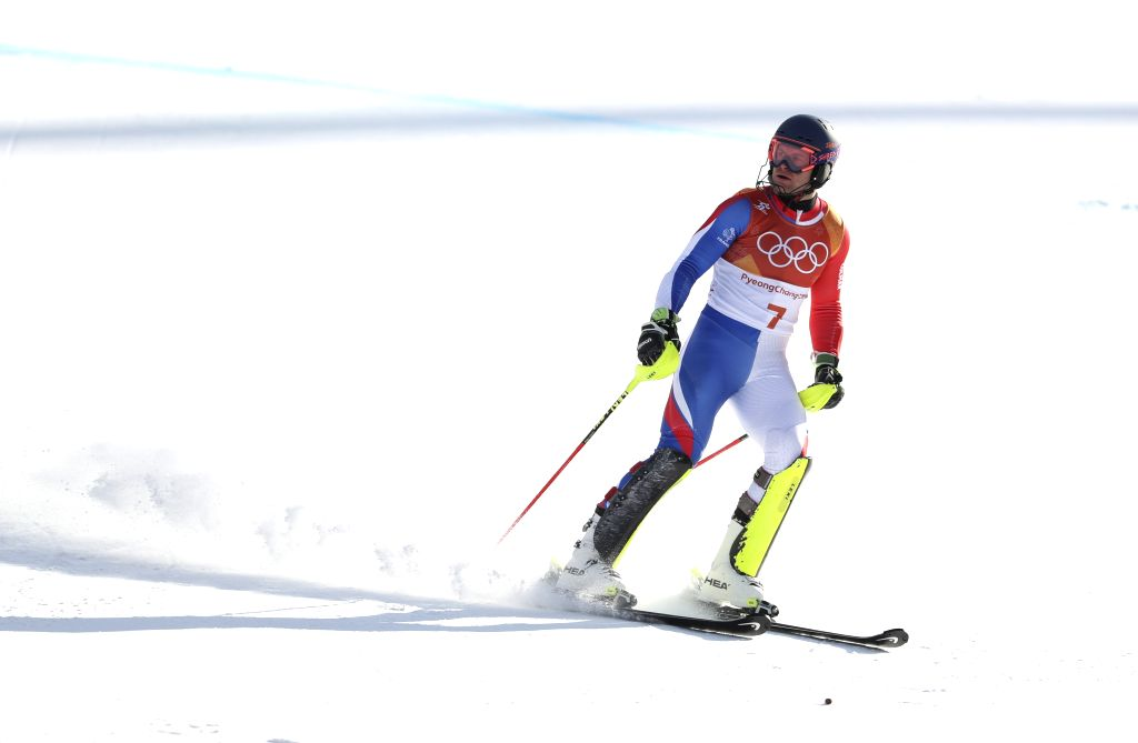 PYEONGCHANG, Feb. 13, 2018 - Alexis Pinturault of France competes during the men's alpine combined of alpine skiing at Jeongseon Alpine Centre in PyeongChang, South Korea, Feb. 13, 2018. Alexis ...