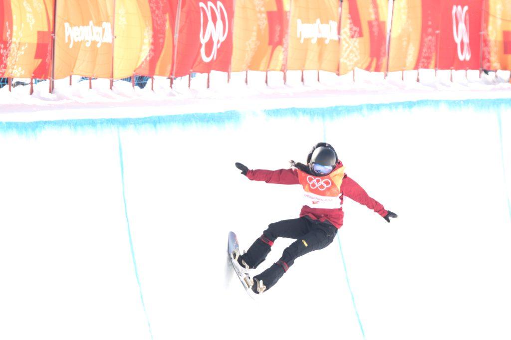 PYEONGCHANG, Feb. 13, 2018 - China's Liu Jiayu competes during ladies' halfpipe finals of snowboard at the 2018 PyeongChang Winter Olympic Games at Phoenix Snow Park in PyeongChang, South Korea, on ...
