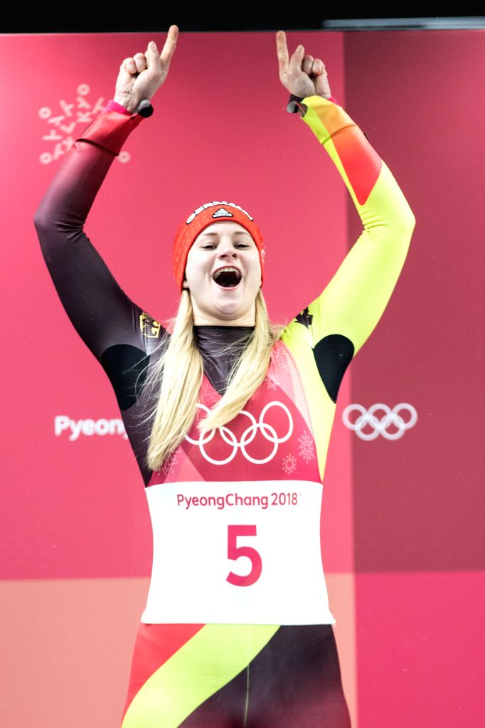 PYEONGCHANG, Feb. 13, 2018 - Dajana Eitberger from Germany celebrates during venue ceremony of women's singles event of luge at 2018 PyeongChang Winter Olympic Games at Olympic Sliding Centre, ...
