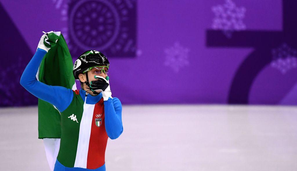 PYEONGCHANG, Feb. 13, 2018 - Italy's Arianna Fontana celebrates after finishing ladies' 500m final of short track speed skating at the Pyeongchang 2018 Winter Olympic Games at Gangneung Ice Arena, ...