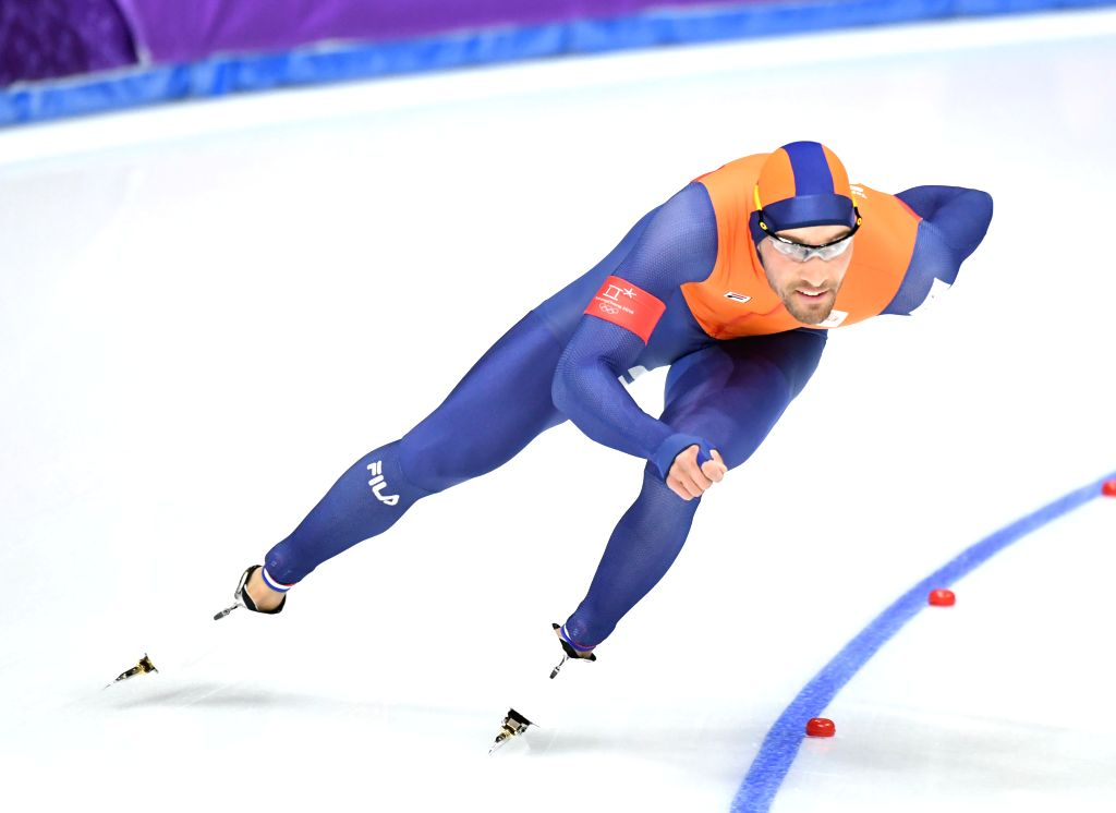 PYEONGCHANG, Feb. 13, 2018 - Kjeld Nuis from the Netherlands competes during mens' 1500m event of speed skating at 2018 PyeongChang Winter Olympic Games at Gangneung Oval, Feb. 13, 2018. Kjeld Nuis ...