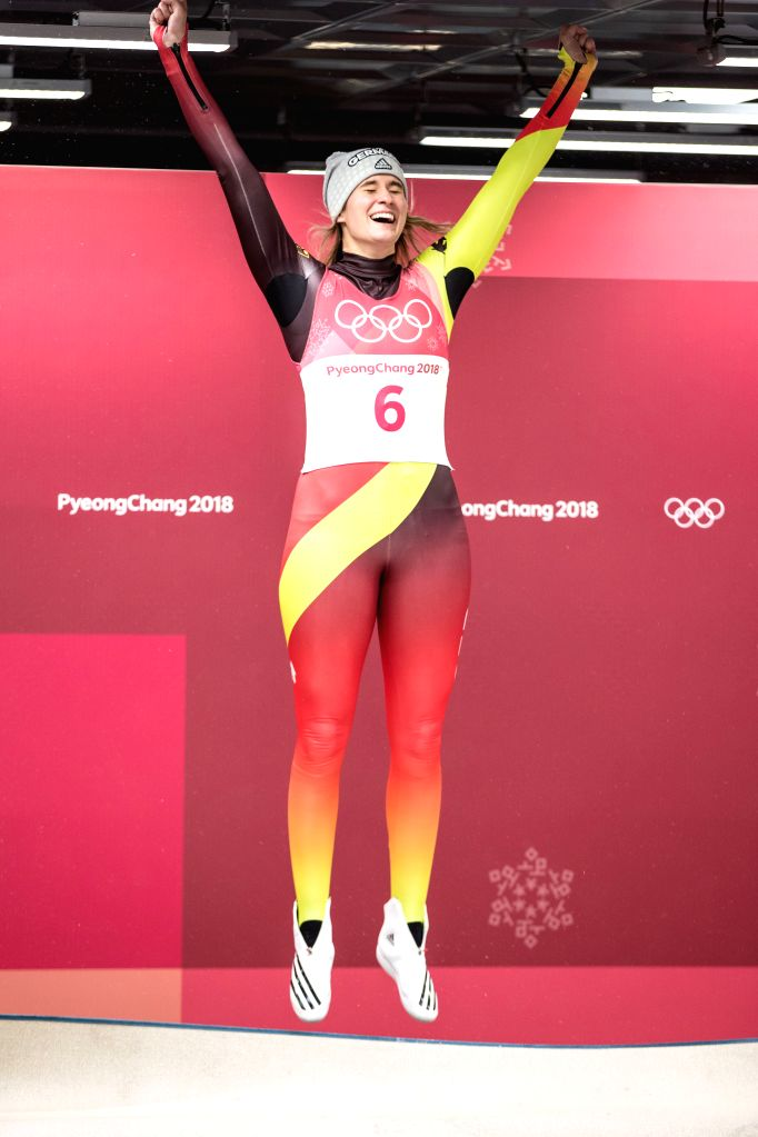 PYEONGCHANG, Feb. 13, 2018 - Natalie Geisenberger from Germany celebrates during venue ceremony of women's singles event of luge at 2018 PyeongChang Winter Olympic Games at Olympic Sliding Centre, ...