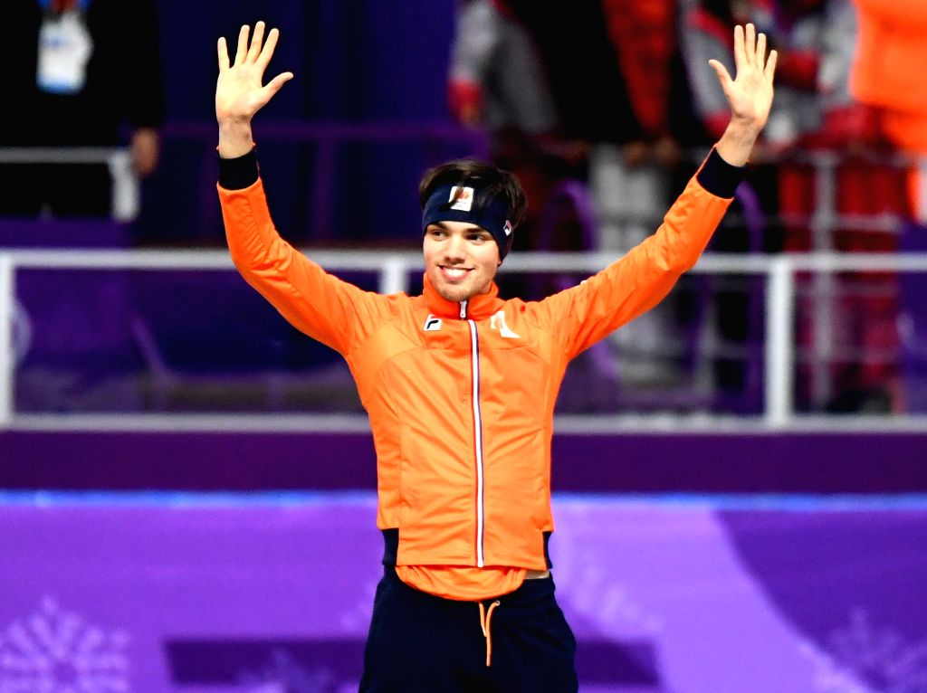 PYEONGCHANG, Feb. 13, 2018 - Patrick Roest from the Netherlands poses for photos during venue ceremony of the mens' 1500m event of speed skating at 2018 PyeongChang Winter Olympic Games at Gangneung ...