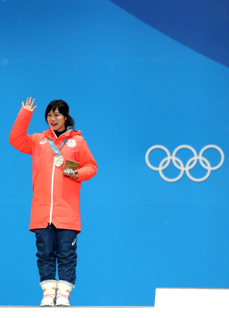 PYEONGCHANG, Feb. 13, 2018 - Second-placed Miho Takagi from Japan poses for photos during the medal ceremony of ladies' 1500m event of speed skating at 2018 PyeongChang Winter Olympic Games at the ...