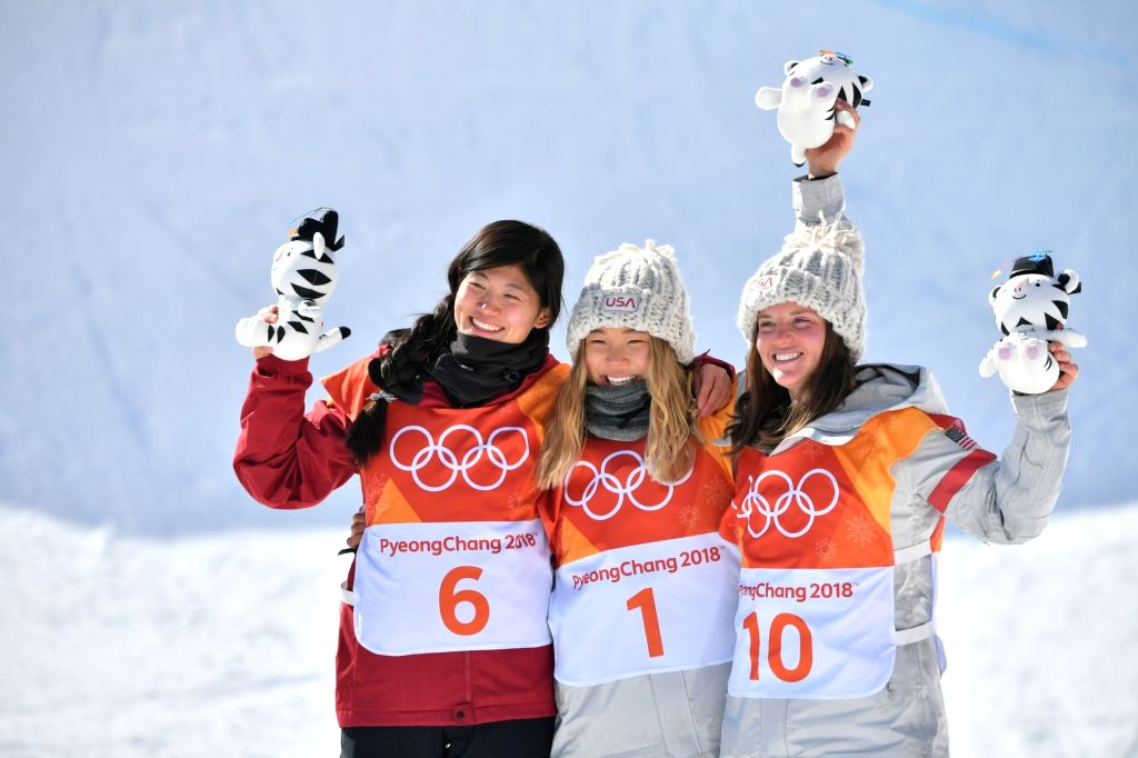 PYEONGCHANG, Feb. 13, 2018 - Silver medalist China's Liu Jiayu, gold medalist USA's Chloe Kim and bronze medalist USA's Arielle Gold (L to R) celebrate after ladies' halfpipe finals of snowboard at ...