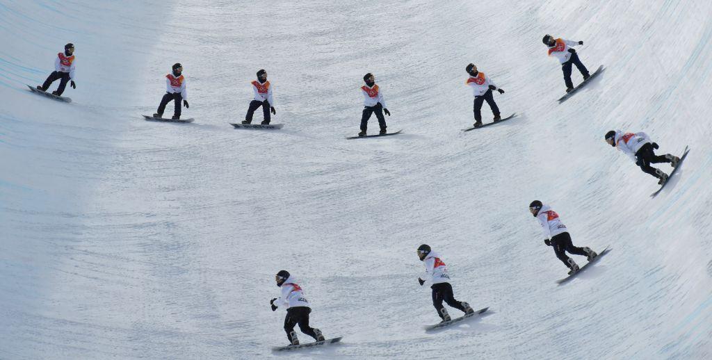 PYEONGCHANG, Feb. 13, 2018 - The multi-exposure photo shows Raibu Katayama of Japan compete during men's halfpipe qualification of snowboard at the 2018 PyeongChang Winter Olympic Games at Phoenix ...