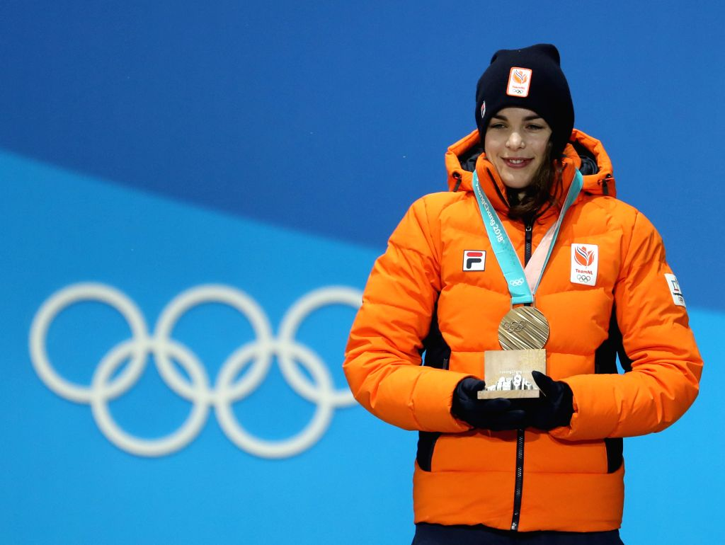 PYEONGCHANG, Feb. 13, 2018 - Third-placed Marrit Leenstra from the Netherlands poses for photos during the medal ceremony of ladies' 1500m event of speed skating at 2018 PyeongChang Winter Olympic ...