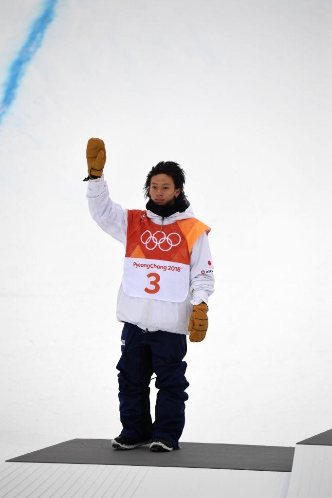 PYEONGCHANG, Feb. 14, 2018 - Ayumu Hirano of Japan waves to the crowd after the men's halfpipe of snowboard at 2018 PyeongChang Winter Olympic Games at Phoenix Snow Park, in PyeongChang, South Korea, ...