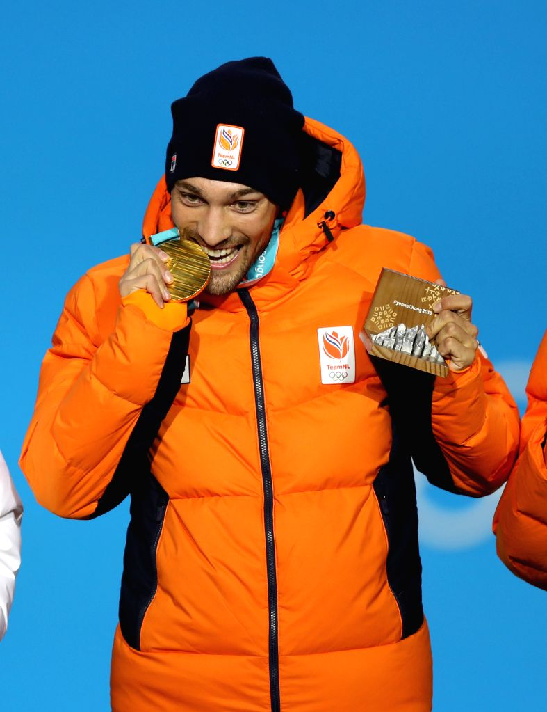 PYEONGCHANG, Feb. 14, 2018 - Champion Kjeld Nuis from the Netherlands celebrates during medal ceremony of the mens' 1500m event of speed skating at 2018 PyeongChang Winter Olympic Games at the Medal ...