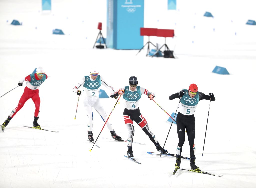 PYEONGCHANG, Feb. 14, 2018 - Eric Frenzel (R1) of Germany competes during individual gundersen NH/10KM event of Nordic Combined at 2018 PyeongChang Winter Olympic Games at Alpensia Biathlon Centre, ...