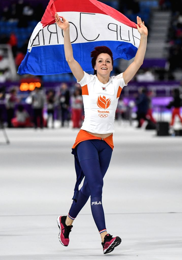 PYEONGCHANG, Feb. 14, 2018 - Jorien Ter Mors of the Netherlands celebrates after winning the women's 1,000m speed skating event at the Pyeongchang 2018 Winter Olympic Games at the Gangneung Oval in ...