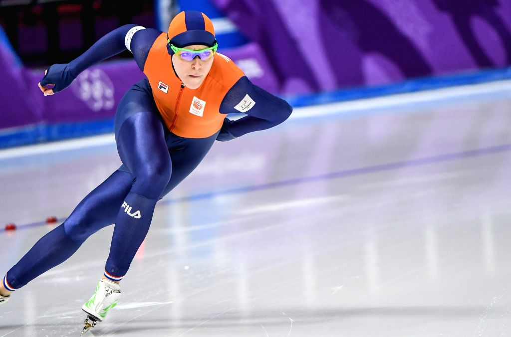PYEONGCHANG, Feb. 14, 2018 - Jorien Ter Mors of the Netherlands competes during the women's 1,000m speed skating event at the Pyeongchang 2018 Winter Olympic Games at the Gangneung Oval in ...