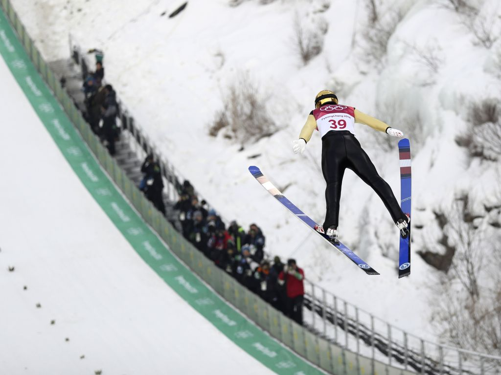 PYEONGCHANG, Feb. 14, 2018 - Lukas Klapfer of Austria competes during individual gundersen NH/10KM event of Nordic Combined at 2018 PyeongChang Winter Olympic Games at the Alpensia Ski Jump centre, ...