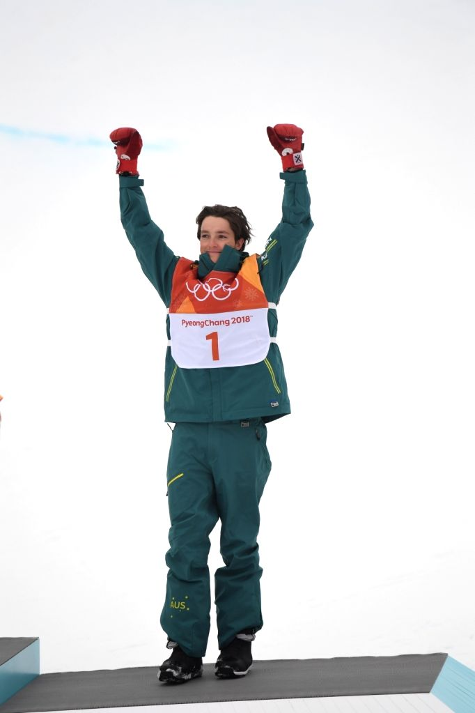 PYEONGCHANG, Feb. 14, 2018 - Scotty James of Australia celebrates after the men's halfpipe of snowboard at 2018 PyeongChang Winter Olympic Games at Phoenix Snow Park, in PyeongChang, South Korea, ...