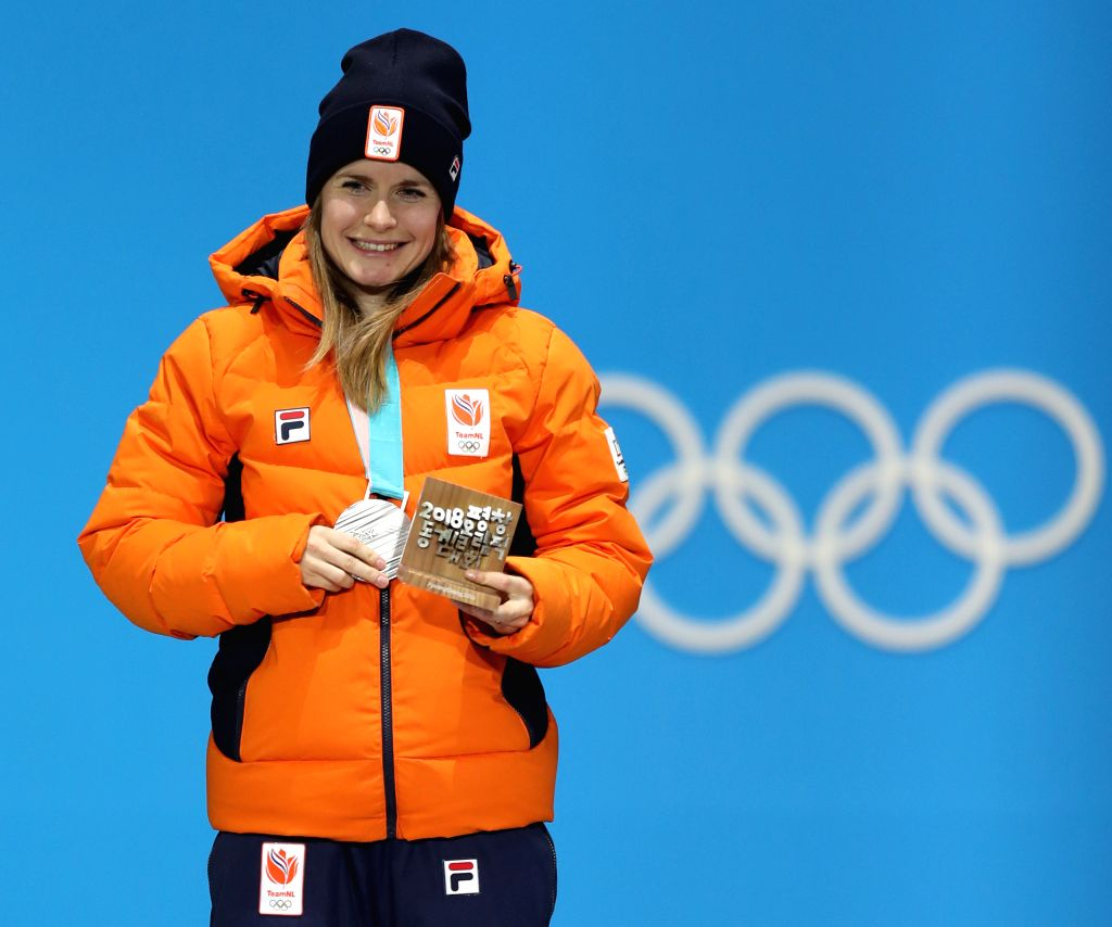 PYEONGCHANG, Feb. 14, 2018 - Second-placed Yara Van Kerkhof poses for photos during medal ceremony of the ladies' 500m event of short track speed skating at 2018 PyeongChang Winter Olympic Games at ...