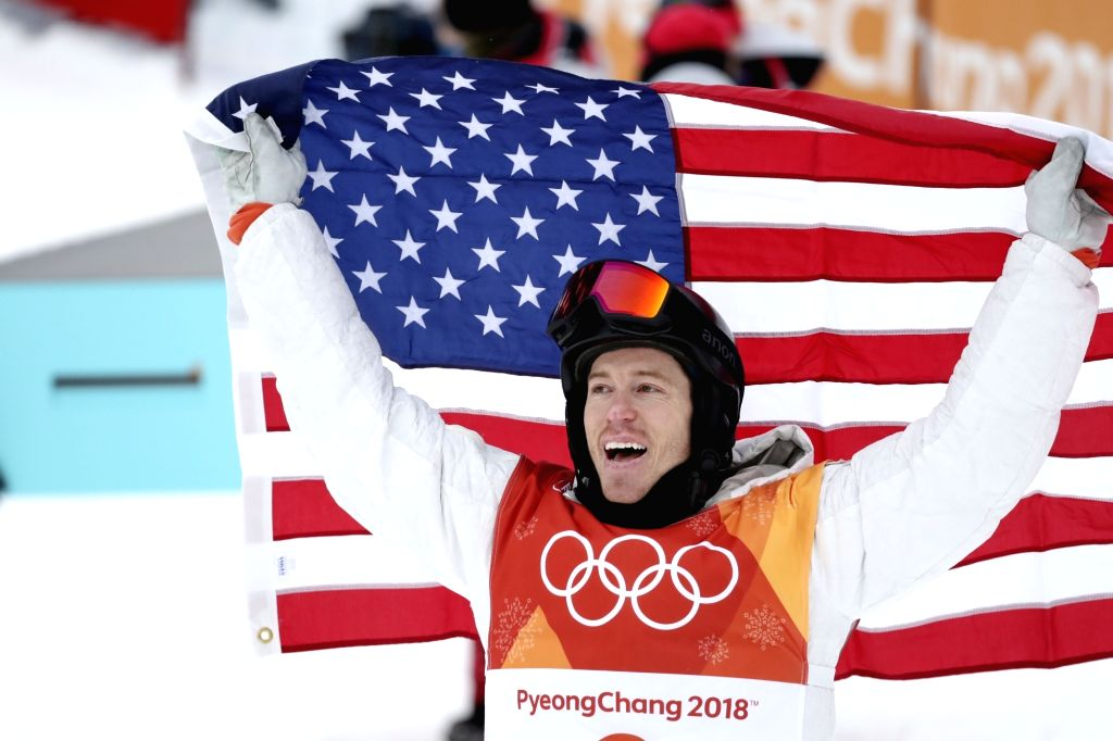 PYEONGCHANG, Feb. 14, 2018 - Shaun White of the U.S. celebrates after winning the men's halfpipe of snowboard at 2018 PyeongChang Winter Olympic Games at Phoenix Snow Park, in PyeongChang, South ...