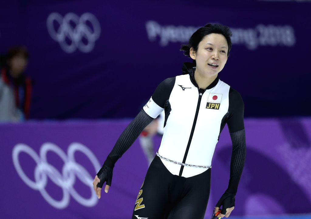 PYEONGCHANG, Feb. 14, 2018 - Takagi Miho of Japan reacts after the women's 1,000m speed skating event at the Pyeongchang 2018 Winter Olympic Games at the Gangneung Oval in Gangneung,South Korea, on ...