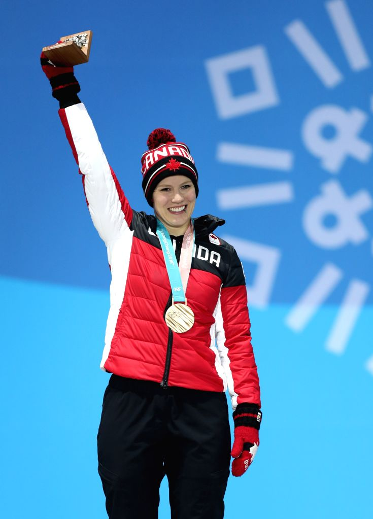 PYEONGCHANG, Feb. 14, 2018 - Third-placed Alex Gough from Canada poses for photo during medal ceremony of women's singles event of luge at 2018 PyeongChang Winter Olympic Games at the Medal Plaza in ...