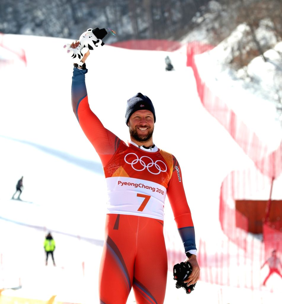 PYEONGCHANG, Feb. 15, 2018 - Aksel Lund Svindal of Norway celebrates after winning the men's downhill of Alpine skiing at the 2018 PyeongChang Winter Olympic Games, at Jeongseon Alpine Centre, South ...