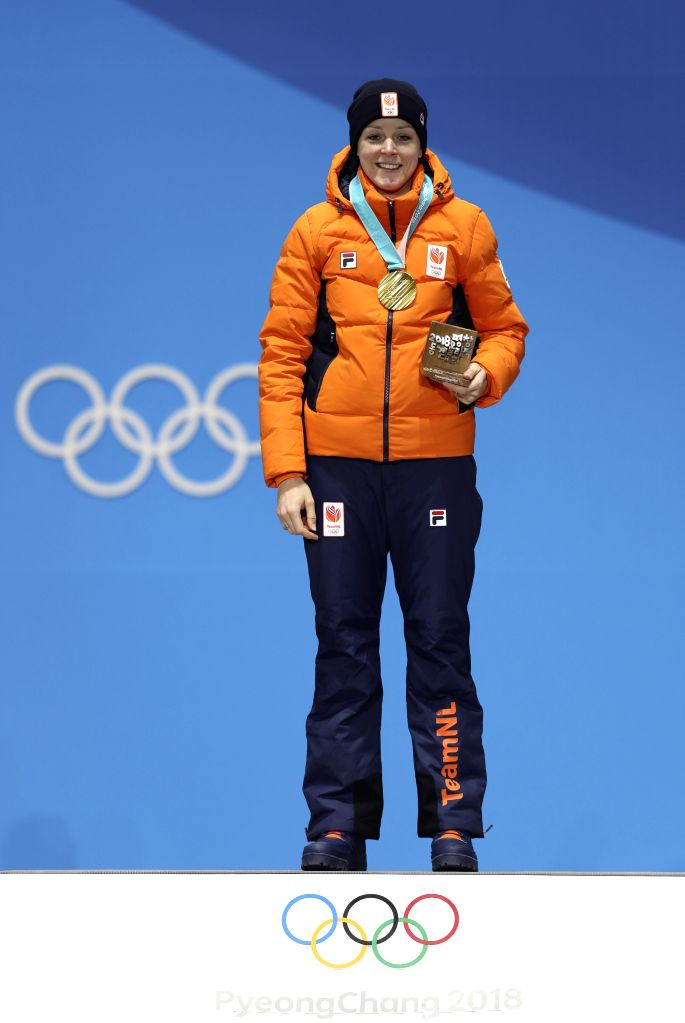 PYEONGCHANG, Feb. 15, 2018 - Gold medalists Jorien Ter Mors of the Netherland poses for photos during medal ceremony of women's 1,000m speed skating event at PyeongChang 2018 Winter Olympic Games at ...